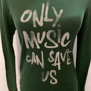 Junk Food ONLY MUSIC CAN SAVE US Thermal Tee Med